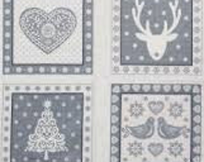 Skandi Christmas Grey - Fabric Panel