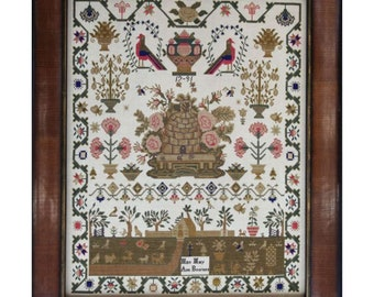 Miss Mary Ann Bournes 1791 - Hands Across the Sea Samplers - Cross Stitch Chart