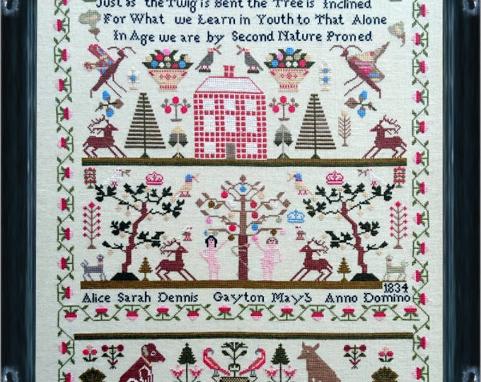 Alice Sarah Dennis 1834 A Norfolk Sampler - Mill on the Floss - Cross Stitch Chart