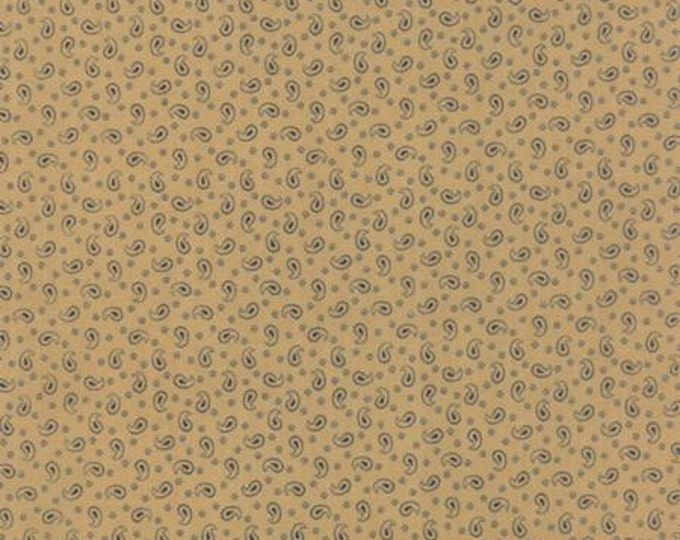 Polka Dots and Paisleys Mini Paisley Tan Blue - 1/2yd