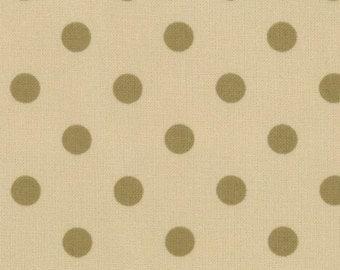 Paint Box Prints - Green Dot on Ecru - 1/2yd