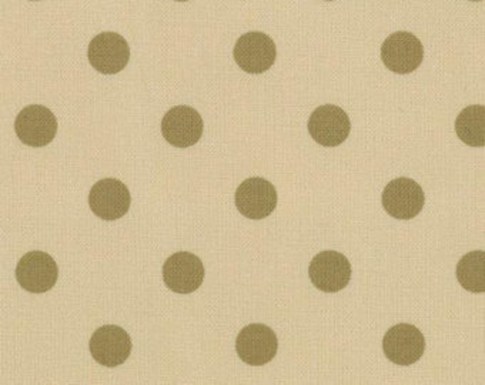 Paint Box Prints - Green Dot on Ecru - 1/2yd