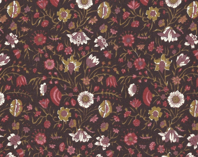 Dutch Chintz - Hindenlopen Deep Brown/Black 1/2 yd