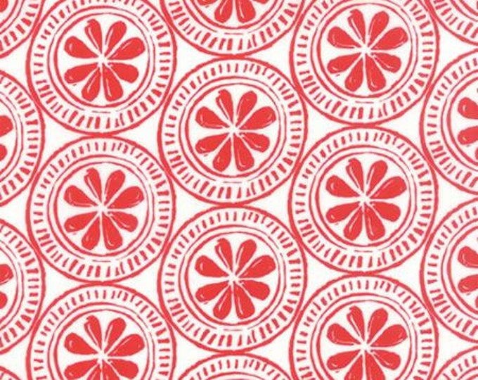 Beach House - Medallion Red on White - 1 yd