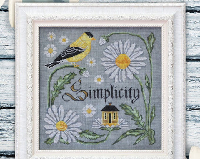 There is Beauty in Simplicity - Songbird's Garden #9 - Cottage Garden Samplings - Cross Stitch Chart