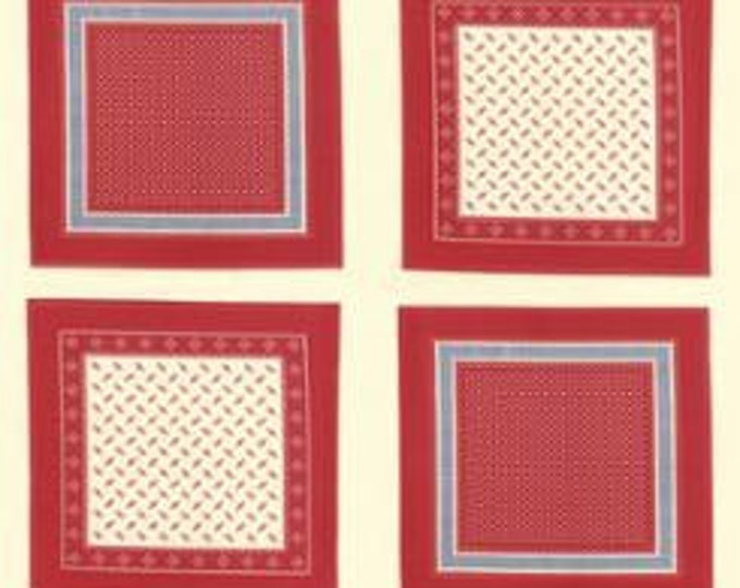 Polka Dots and Paisleys Bandana Blocks Ivory Red - 1 yd
