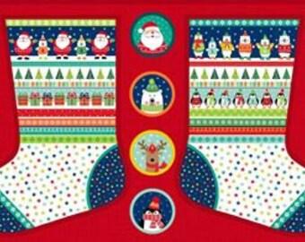 Christmas Stocking Panel 1813 - Fabric Panel