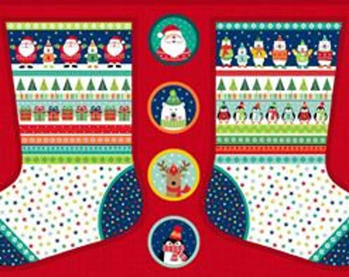 Christmas Stocking Panel - Fabric Panel