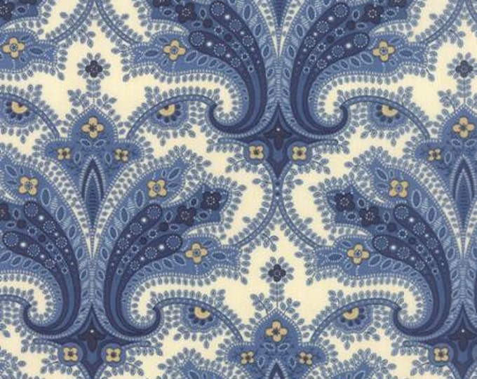 Polka Dots and Paisleys Flourish Ivory Blue - 1/2yd