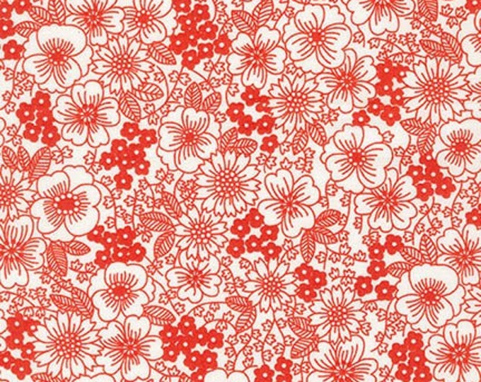 London Calling Lawn 6 - Flowers Red - 1/2 yard