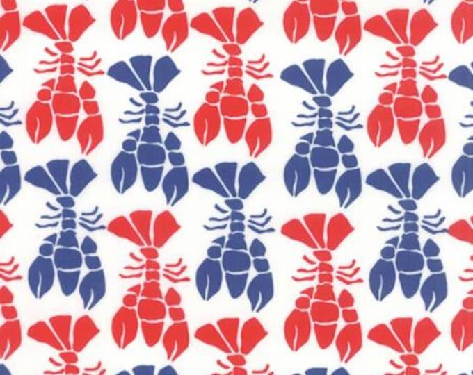 Beach House - Lobster Red Blue - 1/2yd