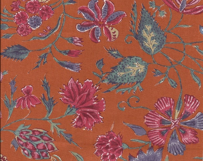 Dutch Chintz - Fleur d'Inde ORANGE 1/2 yd