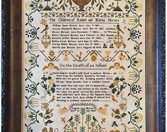 Louisa Horsey 1838 Sampler Shakespeare/'s Peddler Cross Stitch Pattern