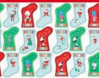 Jolly Santa Stocking Garland Advent Calendar 1958C - 1/2yd
