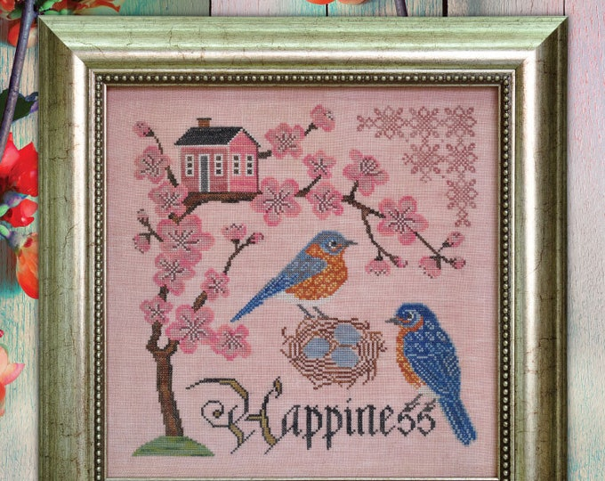 Bluebird of Happiness - Songbird's Garden #5 - Cottage Garden Samplings - Cross Stitch Chart