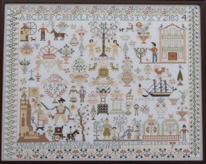 Maria Jenuaria 1833-34 - Queenstown Sampler Designs - Cross Stitch Chart