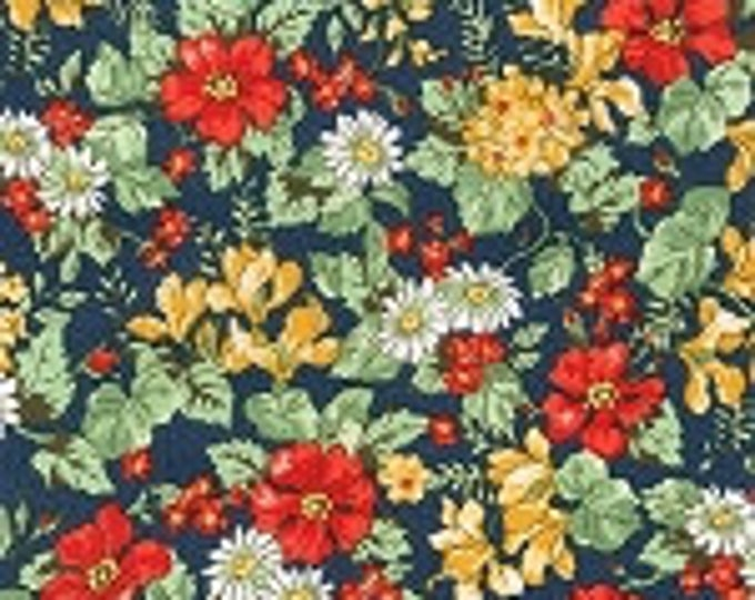 London Calling Lawn 6 - Floral Navy- 1/2 yard