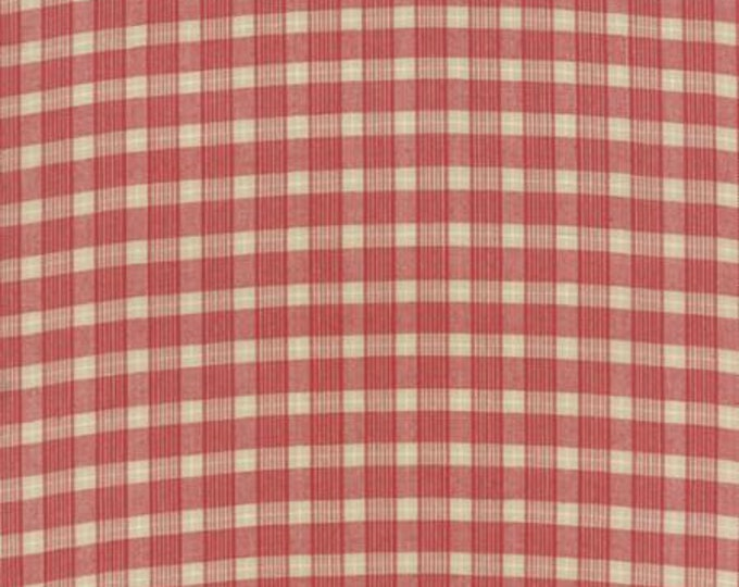 Petite Woven Silky Cotton Plaid Cream Rouge - 1/2yd