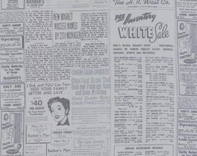 Modern BG Ink Newsprint Zen Grey - 1/2yd