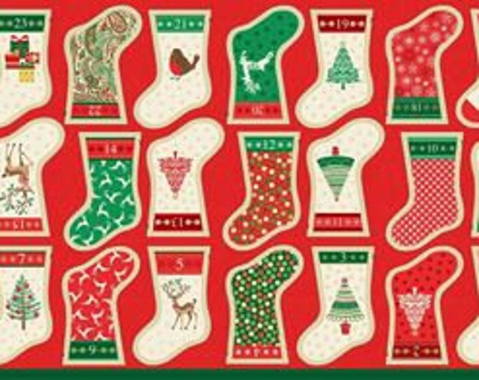 Christmas Stocking Advent Calendar Garland 1798 - Fabric Panel