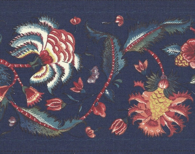 Dutch Chintz Border Fabric - Marken DARK BLUE - half (1/2) yard