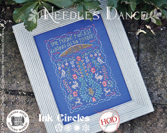 Needles Dance - Exclusive Cross Stitch Kit - Ink Circles, Hands On Design, Summer House Stitch Workes