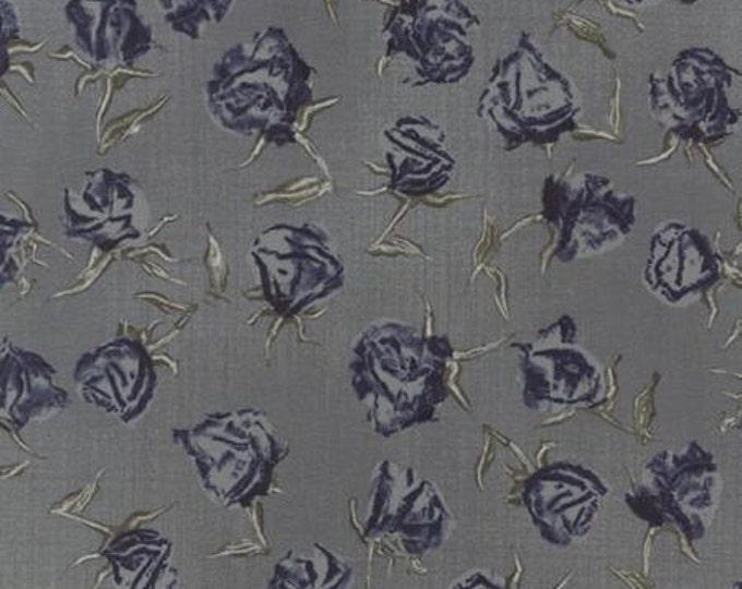 Wordsmith Floral Roses Slate Blue - 1/2yd