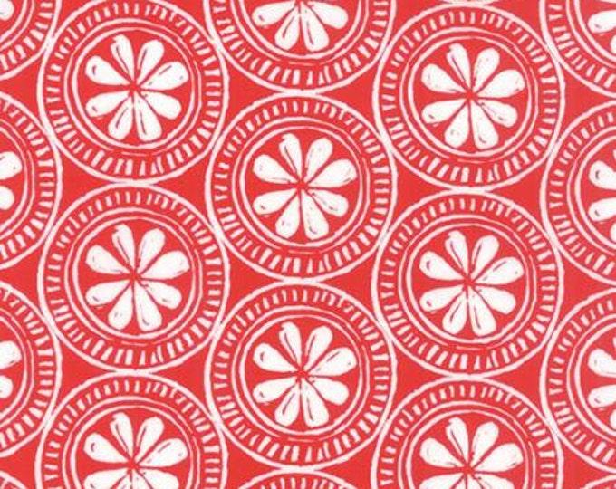 Beach House - Medallion White on Red - 1/2 yd
