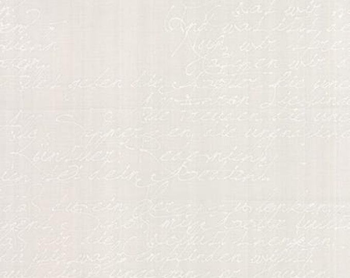 Modern BG Paper Handwriting White Fog - 1/2yd