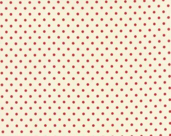 Bread n Butter Potluck Dot Ivory Red - 1/2yd