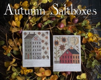 Autumn Saltboxes - Plum Street Samplers - Cross Stitch Chart