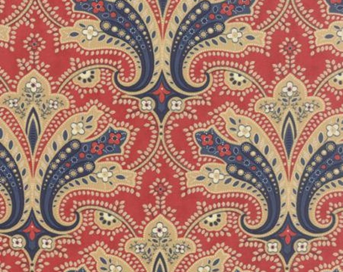 Polka Dots and Paisleys Flourish Red Blue - 1/2yd