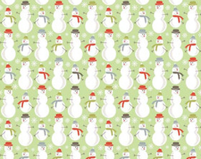 A Very Merry Christmas - Snowmen Soft Green - 1/2 yard