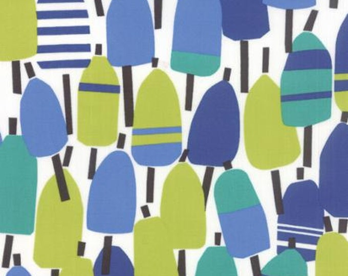 Beach House - Coastal Buoys Periwinkle Lime - 1/2yd