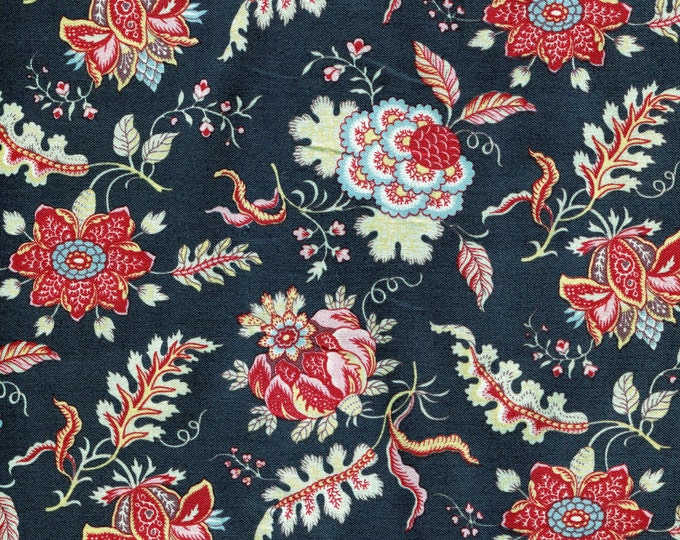 Dutch Heritage Pomegranate 1022 - Charcoal - 1/2yd