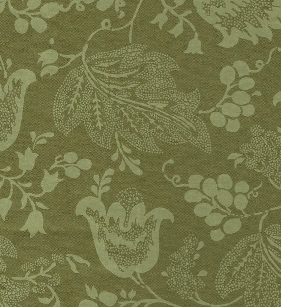 Dutch Chintz - Green - Ton sur Ton 1/2 yd