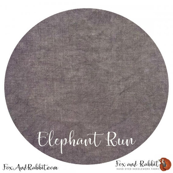 Elephant Run - Fox and Rabbit Designs - Hand-Dyed linen - 40 count