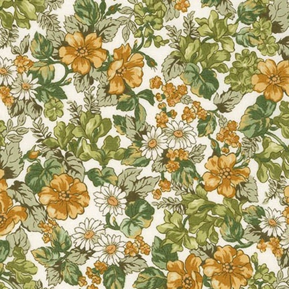 London Calling Lawn 6 - Floral Olive - 1/2 yard