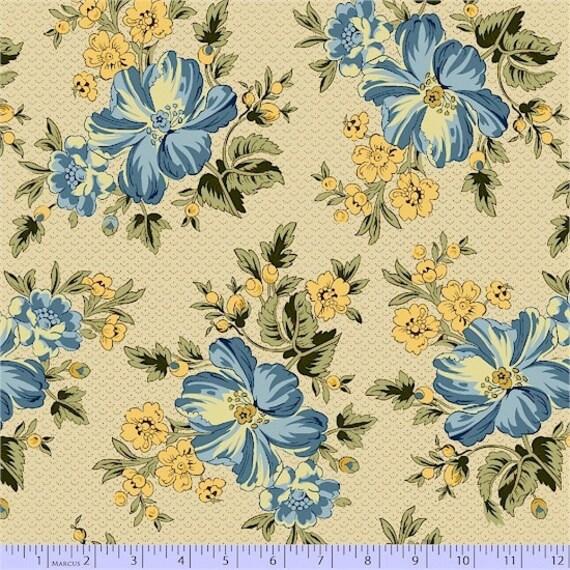 Romantic Renaissance - Blue Floral - 1/2yd