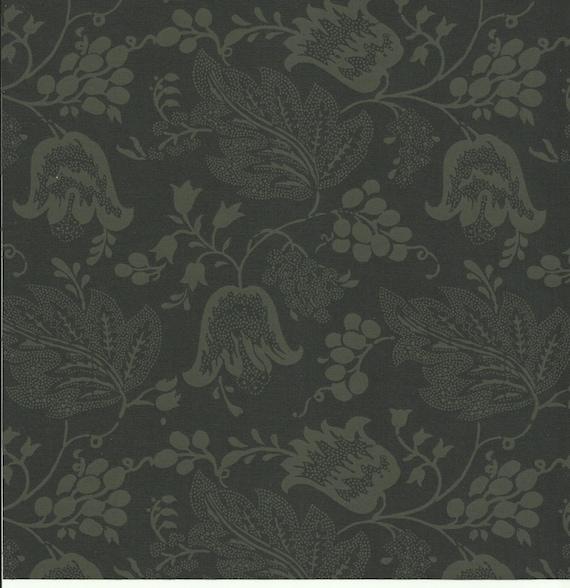Dutch Chintz - Licorice / Green Black - Ton sur Ton 1/2 yd