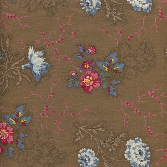 Dutch Heritage - Flowers from the Past 2045 Brown - 1/2yd