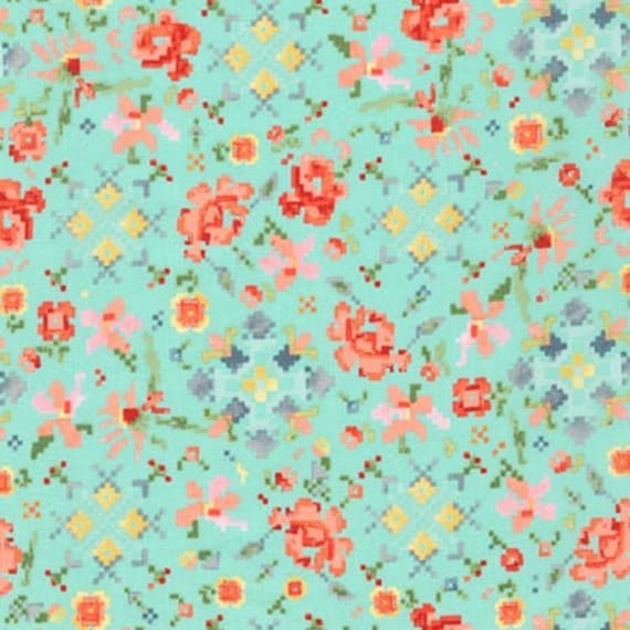 Woodland Clearing Lawn 1584881 Turquoise - 1/2yd