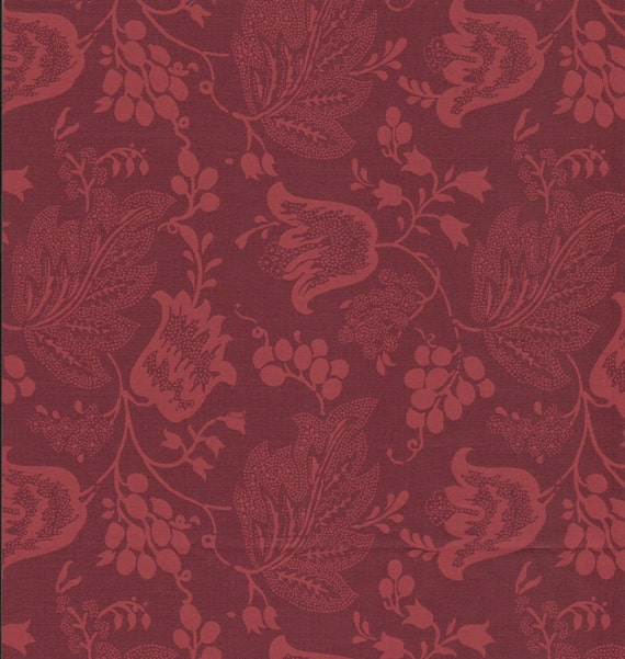 Dutch Chintz - Bordeaux Red - Ton sur Ton 1/2 yd