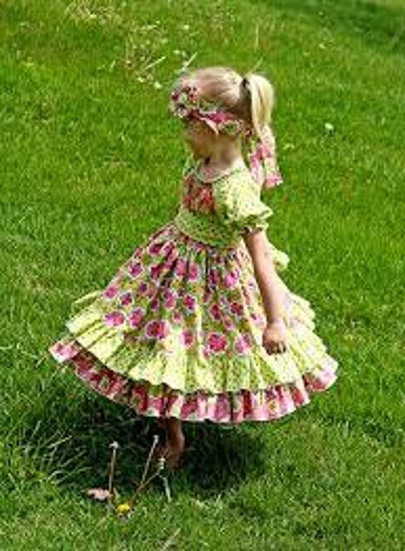 Elena's Double Layer Peasant Dress - Girls Dress Pattern - 6mos - 8 yrs