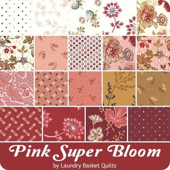 Pink Super Bloom by Laundry Basket Quilts - 18 FQ Bundle