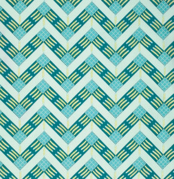 Feathered Zigzag Teal - 1yd
