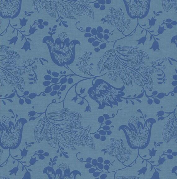 Dutch Chintz - Turquoise - Ton sur Ton 1/2 yd