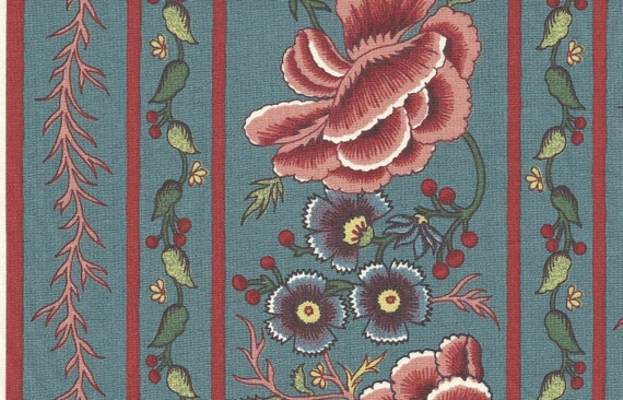 Dutch Chintz Border - Oberkampf Antique Blue - half (1/2) yard