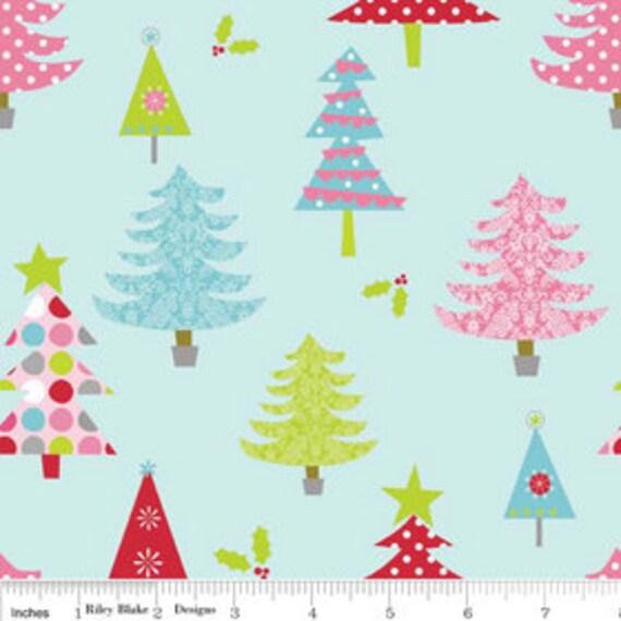 Christmas Trees - Blue - 1/2 yard