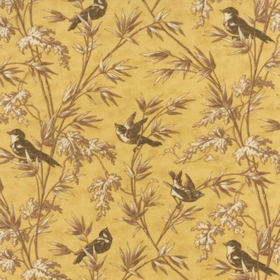Larkspur Birdsong Yellow - 1/2yd